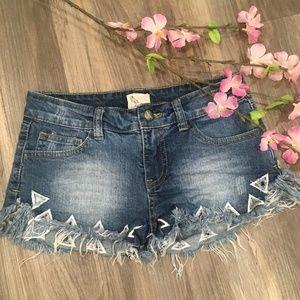 Boutique Denim Jean Short Shorts Size 26 Cutouts
